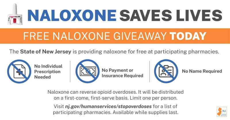 New Jersey proveerá el antídoto de sobredosis gratuitamente a los residentes entre hoy y el sábado
